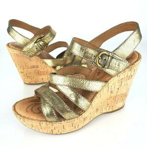Born Strappy Gold Metallic Cork Wedge Sandals